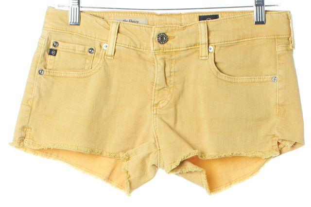 AG ADRIANO GOLDSCHMIED Yellow The Daisey Super Low-Rise Denim Shorts
