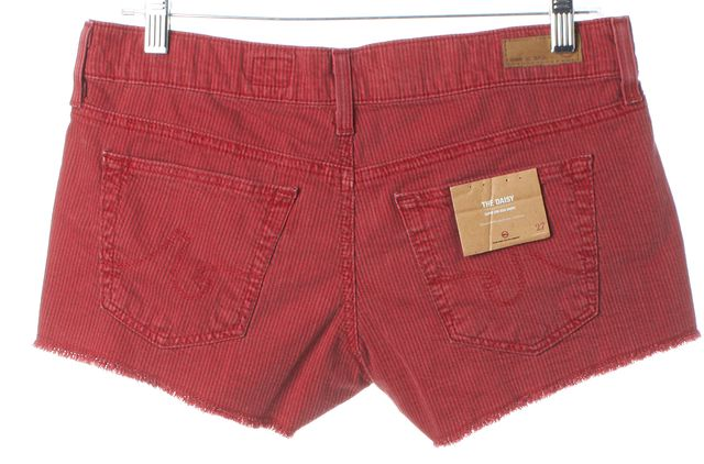 AG ADRIANO GOLDSCHMIED Red Striped The Daisy Low-Rise Shorts