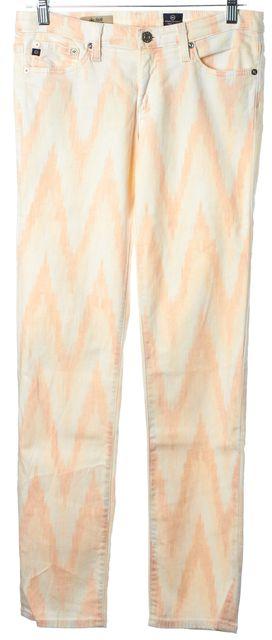 AG ADRIANO GOLDSCHMIED Ivory Peach Beige Ikat The Stilt Cigarette Jean
