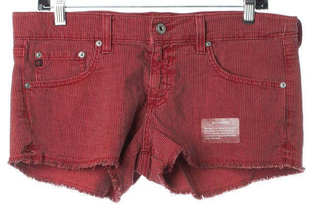 AG ADRIANO GOLDSCHMIED Red Striped Daisy Low-Rise Denim Shorts