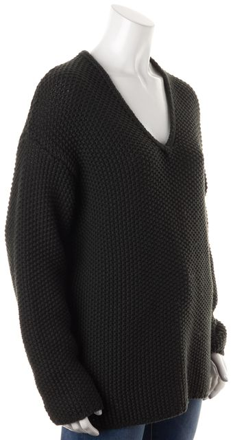 AG ADRIANO GOLDSCHMIED Dark Olive Green Wool V-Neck Chunky Knit Sweater