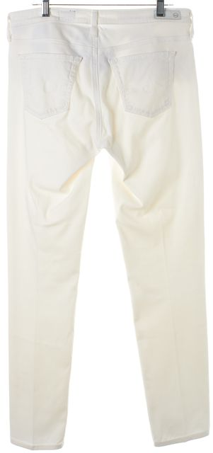 AG ADRIANO GOLDSCHMIED White Pleated The Stevie Ankle Slim Fit Jeans