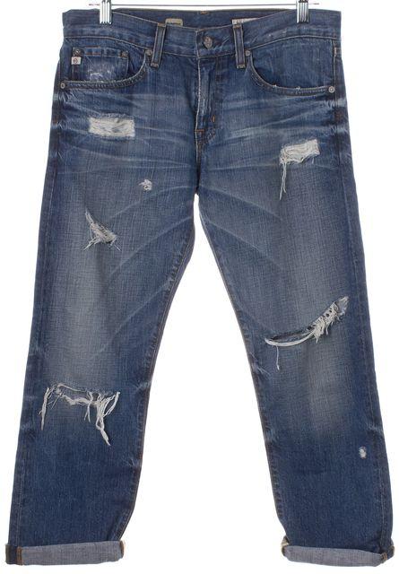 AG ADRIANO GOLDSCHMIED Blue Distressed Ex-Boyfriend Crop Jeans