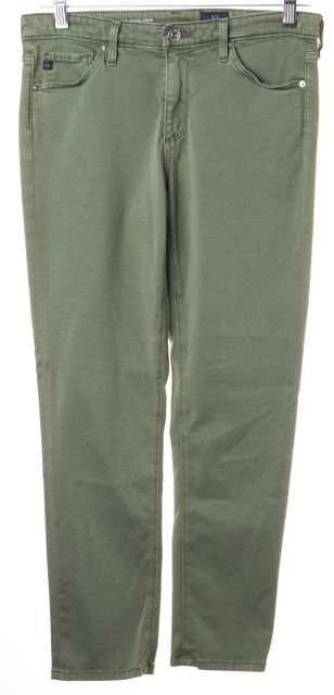 AG ADRIANO GOLDSCHMIED Green Prima MId-Rise Cigarette Crop Skinny Pants