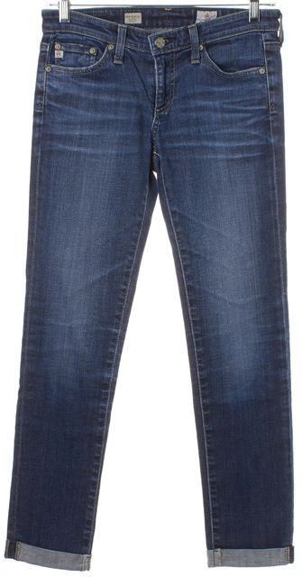 AG ADRIANO GOLDSCHMIED Blue Medium Wash Stilt Roll Up Cropped Jeans