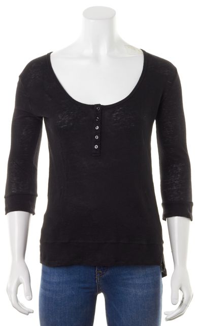 AG ADRIANO GOLDSCHMIED Black Burn-Out Linen Scoop Neck Henley Top