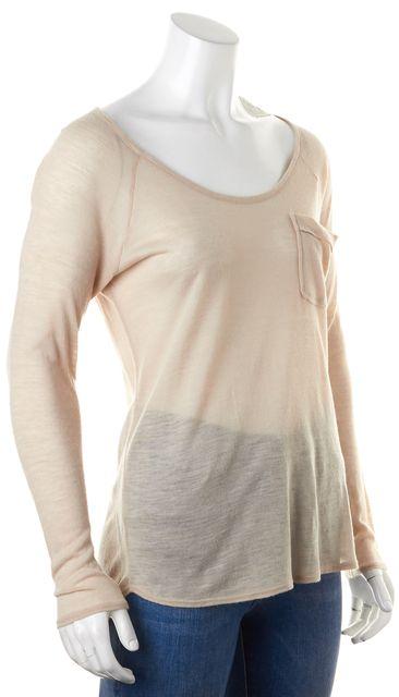 AG ADRIANO GOLDSCHMIED Beige Semi Sheer Long Sleeve Front Pocket Top