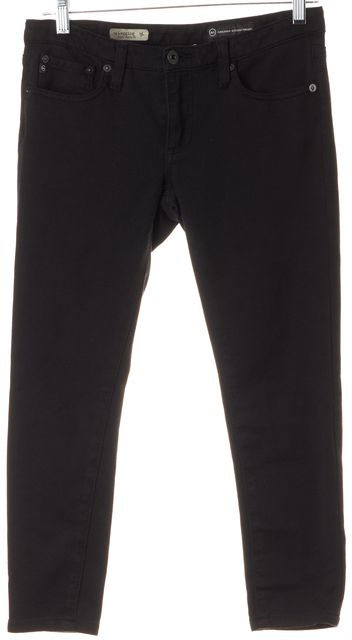 AG ADRIANO GOLDSCHMIED Black Super Skinny Low Rise Cropped Leggings Jeans