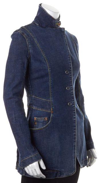 AG ADRIANO GOLDSCHMIED Blue Cotton Denim Snap Buttons Blazer Jacket