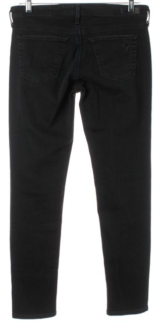AG ADRIANO GOLDSCHMIED Black Slim Straight The Skinny Ankle Jeans