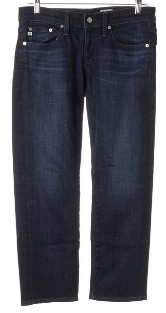 AG ADRIANO GOLDSCHMIED Blue Tomboy Crop Straight Leg Jeans