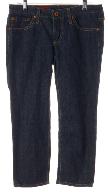 AG ADRIANO GOLDSCHMIED Blue Stretch Cotton Cropped Jeans