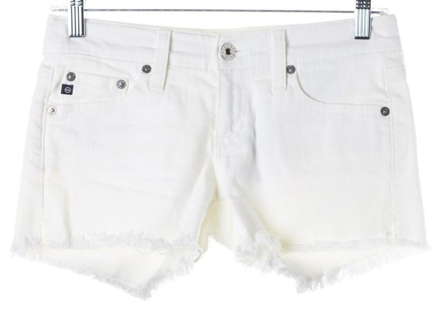 AG ADRIANO GOLDSCHMIED White Mary Jane Low Rise Cutoff Denim Shorts