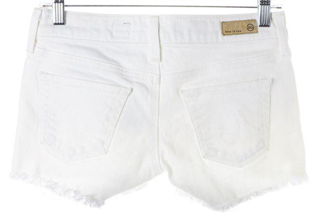 AG ADRIANO GOLDSCHMIED White Mary Jane Low Rise Cutoff Denim Shorts
