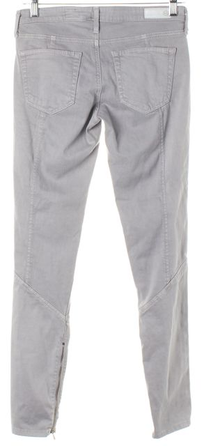 AG ADRIANO GOLDSCHMIED Gray The Reagan Paneled Zipper Skinny Jeans