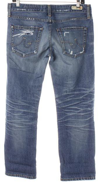 AG ADRIANO GOLDSCHMIED Blue Distressed Denim Ex-Boyfriend Crop Jeans