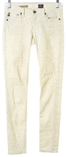 AG ADRIANO GOLDSCHMIED Ivory Beige Leopard Print Legging Ankle Pants