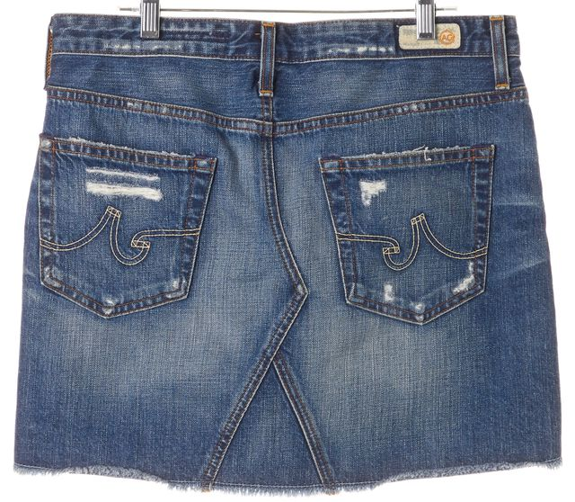 AG ADRIANO GOLDSCHMIED Blue Distressed Denim Box Mini Skirt