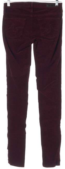 AG ADRIANO GOLDSCHMIED Wine Red Legging Super Skinny Corduroy Pants