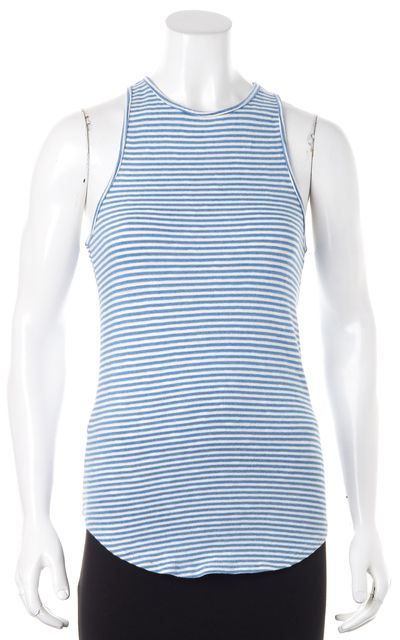 AG ADRIANO GOLDSCHMIED Blue White Striped Knit Tank Top