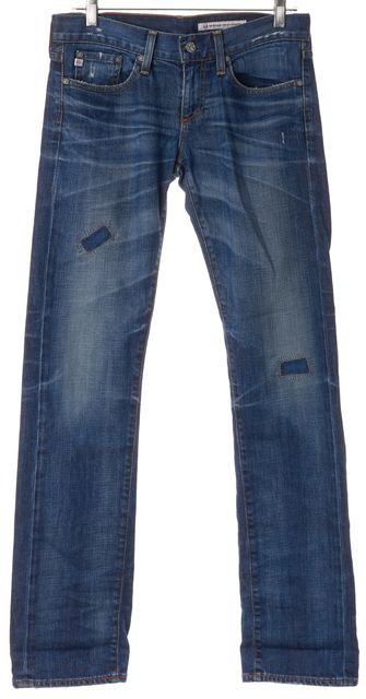 AG ADRIANO GOLDSCHMIED Blue Distressed Denim Boyfriend Straight Leg Jeans