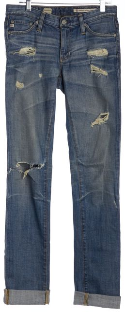 AG ADRIANO GOLDSCHMIED Blue Distressed Ankle Cuffed Skinny Jeans