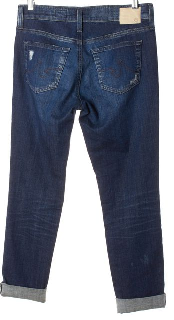 AG ADRIANO GOLDSCHMIED Blue Distressed Cropped Jeans