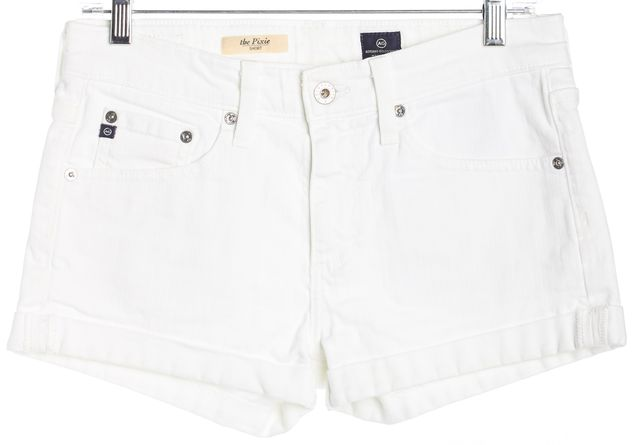 AG ADRIANO GOLDSCHMIED White The Pixie Button Front Pull On Mini Shorts