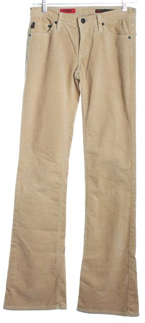 AG ADRIANO GOLDSCHMIED Beige Button Front The Angel Corduroys Pants