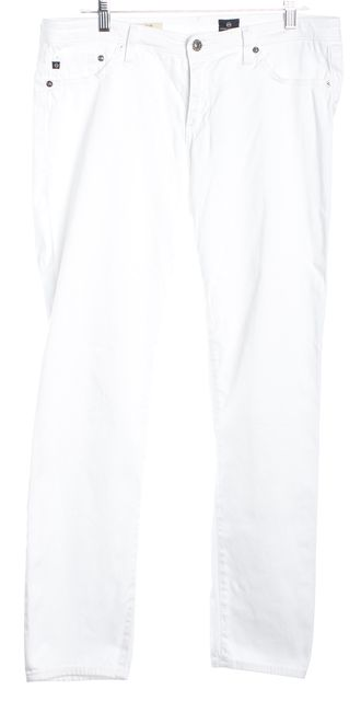 AG ADRIANO GOLDSCHMIED White The Stilt Cigarette Classic Rise Pants