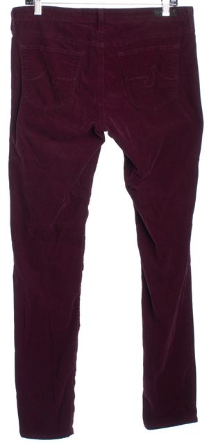 AG ADRIANO GOLDSCHMIED Plum Purple Mid-Rise Super Skinny Corduroy Pants