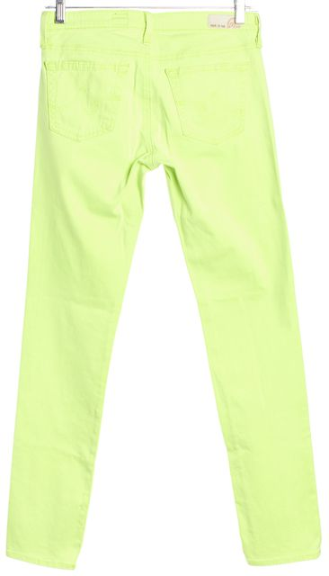 AG ADRIANO GOLDSCHMIED Neon Light Green Low-Rise Skinny Jeans