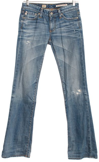 AG ADRIANO GOLDSCHMIED Light Wash Distressed Angel Boot Cut Jeans