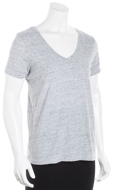 AG ADRIANO GOLDSCHMIED Gray V Neck Marbled Basic Tee T-Shirt