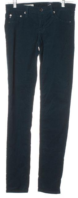 AG ADRIANO GOLDSCHMIED Green Corduroys Super Skinny Legging Pants