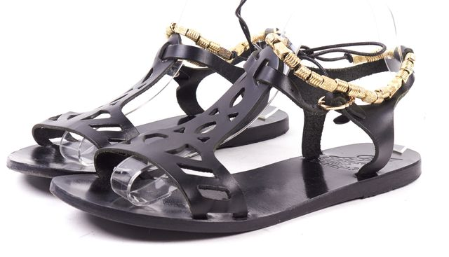 ANCIENT GREEK SANDALS Black Gold Cut-out Leather Ankle Strap Sandals