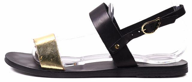 ANCIENT GREEK SANDALS Black Gold Leather Strap Sandals