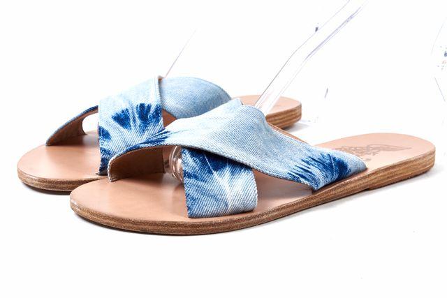 ANCIENT GREEK SANDALS Denim Tie Dye Leather Slip On Sandals