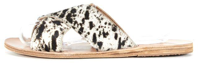 ANCIENT GREEK SANDALS White Black Pony Hair Leather Thais Slip-On Sandals