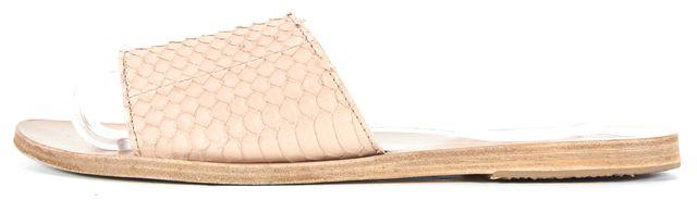 ANCIENT GREEK SANDALS Beige Crocodile Embossed Leather Slip-On Sandals