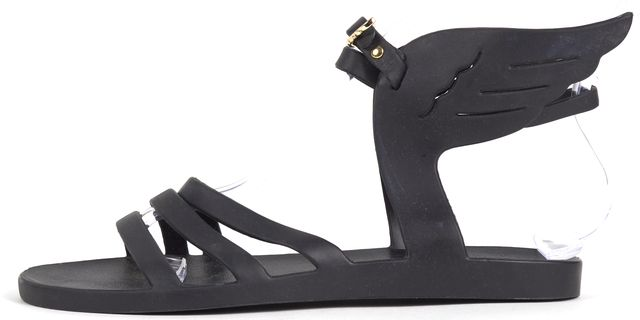 ANCIENT GREEK SANDALS Black Rubber Wing Ikaria Flat Sandals