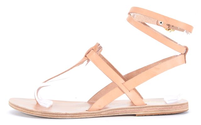 ANCIENT GREEK SANDALS Tan Beige Leather T-Strap Flat Sandals