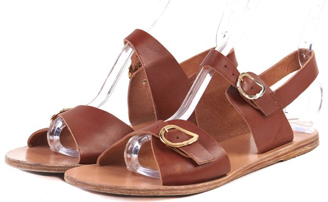 ANCIENT GREEK SANDALS Brown Leather Flat Gladiator Sandals