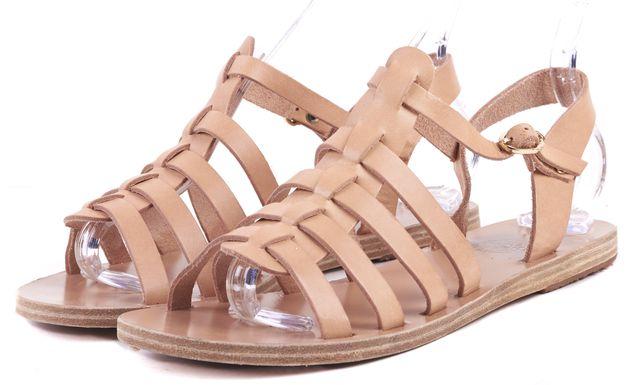 ANCIENT GREEK SANDALS Camel Brown Leather Gladiator Sandals