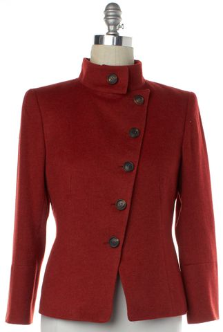 AKRIS Red Cashmere Knit Jacket Size 8