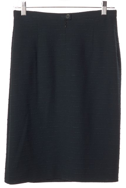 AKRIS Hunter Green Striped Wool Above Knee Straight Skirt