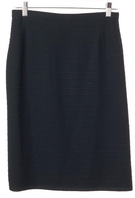 AKRIS Hunter Green Striped Wool Above Knee Straight Skirt