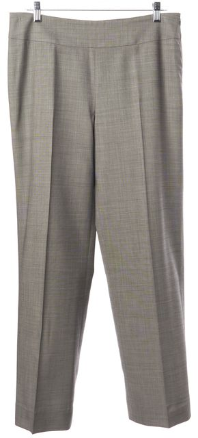 AKRIS Gray Wool Suiting Side Zip High Rise Pleated Trousers Pants