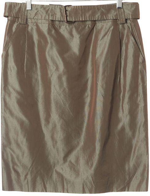 AKRIS Metallic Olive A-Line Skirt