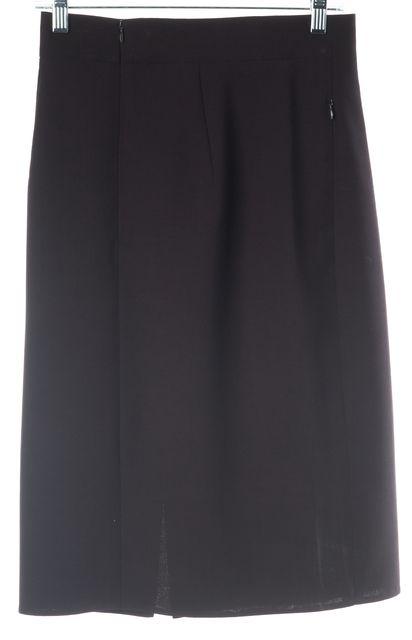 AKRIS Dark Burgundy Red Brown Wool Side Slit Pencil Skirt